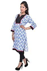 Nishiva Women's Light Blue Cotton Kurta NWK1004_XL