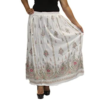 LPRS11 White LONG PRINTED Boho Gypsy Lightweight LINED Skirt with Pink/Green Details