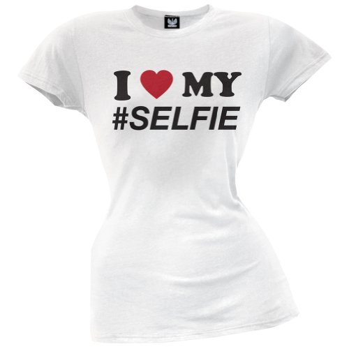 Old Glory - I Heart My Selfie Juniors T-Shirt - Small White front-1009817
