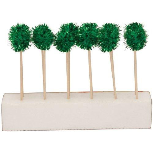Creative Converting Glitz Green Pom Pom Cocktail Picks, 12 Sticks Per Package - 1