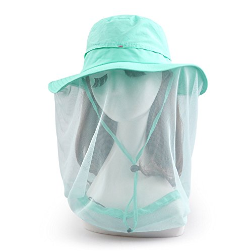 Ezyoutdoor Women's Lake Blue Outdoor Removable Anti-mosquito Polyester Anti-UV Flap Cap Fishing Hat with 360 Degree Head Face Neck Protection Net Mesh for Hiking Hunting Boating Fishing Camping (Aussie Camper Grill compare prices)