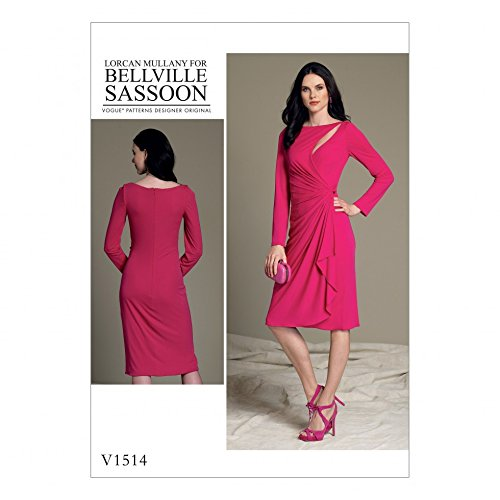 vogue-ladies-sewing-pattern-1514-mock-wrap-cutout-dress