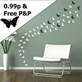 Iconic Stickers - Butterfly Wall Stickers Decal Car Graphic Stencil Removable Transfer Decoration - Size: 25 Small 2.5cmH x 4.5cmW - Colour: Lavender