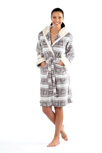 Ladies Selena Secrets Coral Fleece Dressing Gown Bathrobe M/L 14-16 Grey