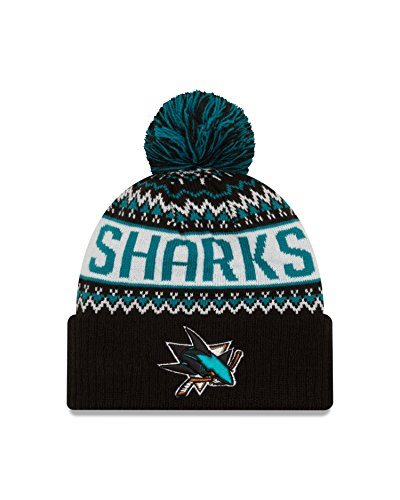 NHL San Jose Sharks Wintry Pom Knit Beanie, One Size, Black (San Jose Sharks Toque compare prices)