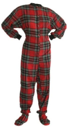 Details for Big Feet PJs Red Plaid Cotton Flannel Adult Footed Pajamas w/ Drop-seat