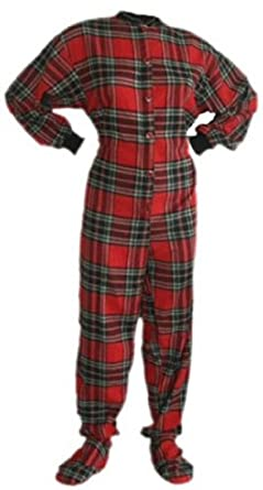 Red Plaid Cotton Flannel Adult Footed Pajamas w/ Drop-seat (101) (Large)