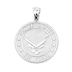 925 Sterling Silver Military Medal Charm US Air Force Coin Pendant by Claddagh Gold