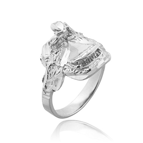 Dainty 925 Sterling Silver Country Girl Band Western Riding Saddle Ring (Size 7) (Saddle Ring compare prices)