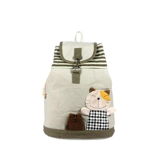 [Happy Cat] 100% Cotton Fabric Art School Backpack / Outdoor Backpack front-925423
