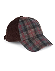 Corduroy Checked Baseball Cap with Wool