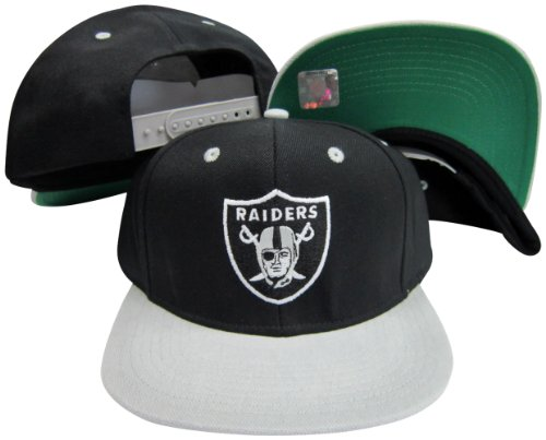 Oakland Raiders Logo Black   Silver Two Tone Plastic Snapback Adjustable  Plastic Snap Back Hat   Cap.   bc9acfbe5a4f