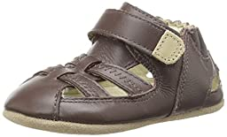 Robeez Colorblock Sandal Flat (Infant), Brown, 3-6 Months M US Infant