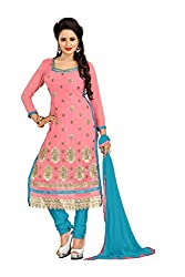 Blissta Light & Pink Georgette Embroidered straight Dress material