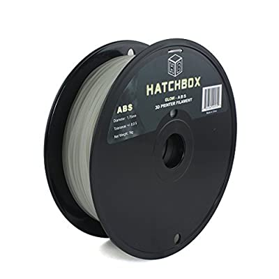 HATCHBOX 1.75mm Glow in the Dark ABS 3D Printer Filament - 1kg Spool (2.2 lbs) - Dimensional Accuracy +/- 0.05mm