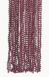 MAROON METALLIC BEADS NECKLACE (4 DOZEN) - BULK - 1