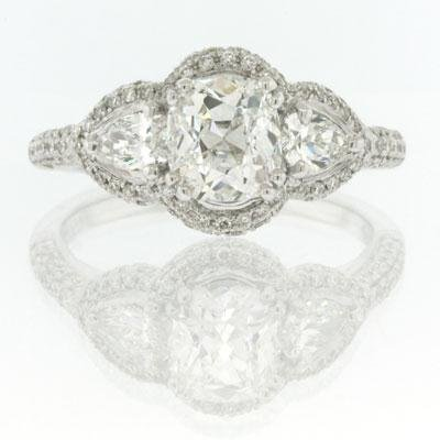 2.05ct Antique Cushion Brilliant Diamond Engagement