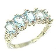 Victorian Design Solid English Sterling Silver Natural Aquamarine Band Ring – Finger Sizes 5 to 12…