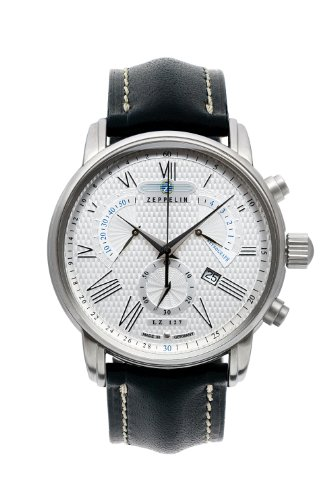 Zeppelin Chronograph Retrograde Black Leather Strap Watch