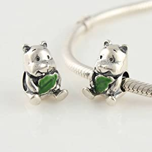 Amazon Com Winnie The Pooh Green Enamel 925 Sterling Silver Charms