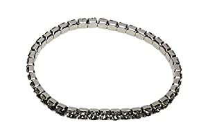 Designs by Nathan, Rhodium Plated Stretch Tennis Bracelet, 4mm Round Brilliant Black Diamond-Colored Crystals from Swarovski
