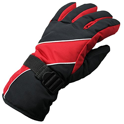 Dealzip Inc Fashion Red & Black Mens Winter WindStopper Waterproof Outdoor Sports Snow Skiing Riding Motorcycle Warm Protective Free Size Full Finger Gloves
