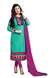 Khushali Presents Embroidered Chanderi Dress Material(Rama Green,Rani)