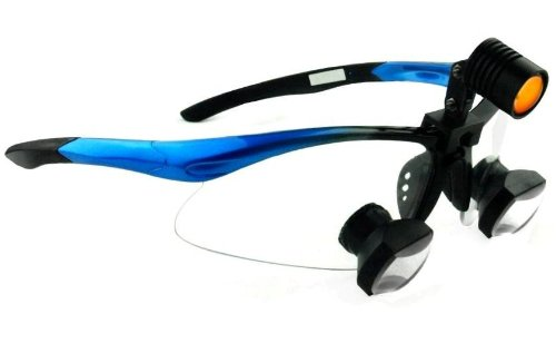 New ! Less Than 1 Oz -- Ttl Dental Surgical Medical Binocular Loupes -- 2.5X340Mm (10.5-14.5 Inch) Working Distance -- Through The Lens Sporty Frame (Blue)