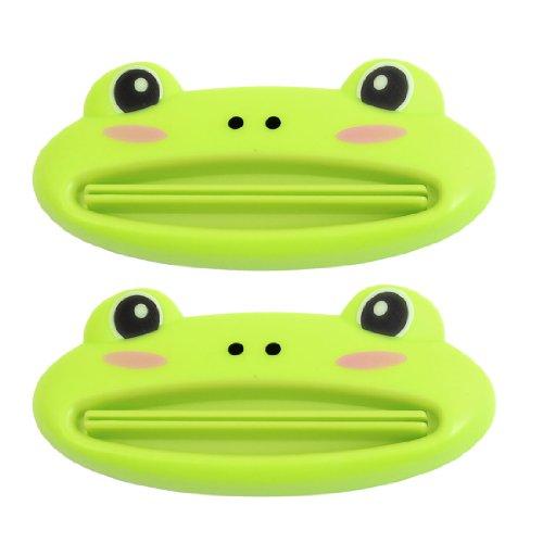 SODIAL(R) 2 pz Verde Spremi Dentifricio a forma rana di plastica