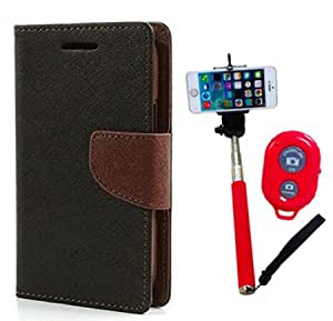 Aart Fancy Diary Card Wallet Flip Case Back Cover For Samsung A3 - (Blackbrown) + Remote Aux Wired Fashionable Selfie Stick Compatible for all Mobiles Phones By Aart Store