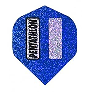 Buy 3 Sets of 3 Dart Flights - 2343 - Pentathlon Blue 2D Glitter Standard Double Thick Flights by Dart Brokers