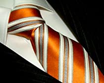Lorenzo Cana - Luxury Italian 100% Silk Tie Orange White Darkorange Stripes Woven Necktie - 77008