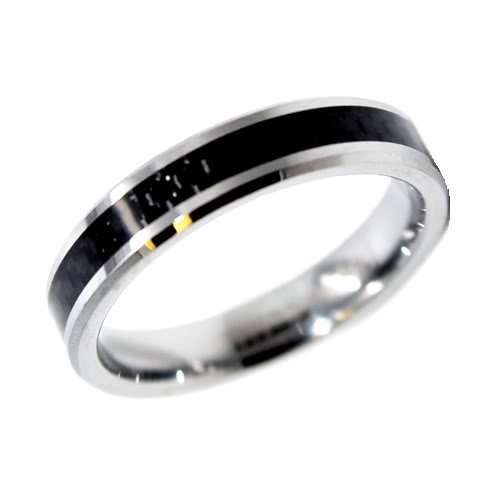 Blue Chip Unlimited - Unisex 5mm Tungsten Ring with Black Carbon Fiber Inlay Wedding Band Designer Fashion Engagement Ring Size Z+1
