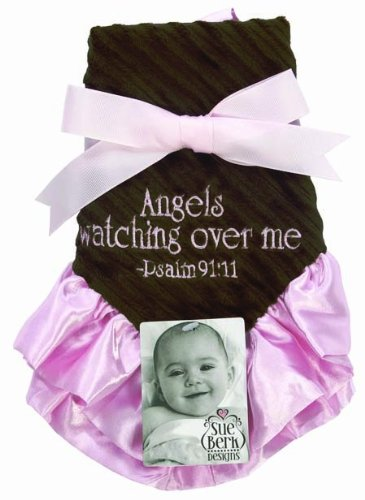 Sue Berk Designs Angels Watching Over Me Baby Blankie, Pink/Brown - 1