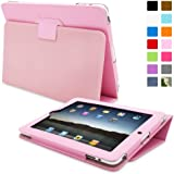 iPad 2 Case, Snugg™ - Smart Cover with Flip Stand & Lifetime Guarantee (Candy Pink Leather) for Apple iPad 2