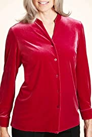 Classic Collection Open Neck Collar Velour Shirt [T58-4298-S-HFPR]