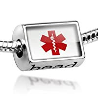 """Neonblond Beads Medical Alert Red """"Hospital Logo"""" - Fits Pandora Charm Bracelet from NEONBLOND Jewelry & Accessories"""