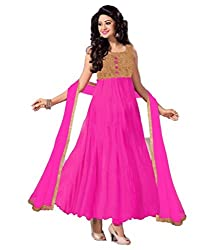 Decent World Glamorous Pink Net Embroidered Unstitched Style Dress Material