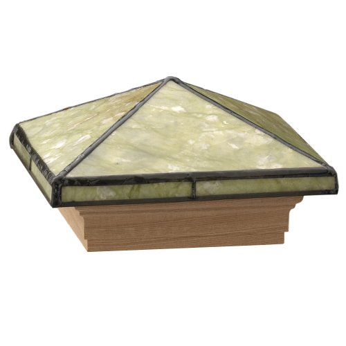 Deckorators 117617 Tiffany Style Serpentine Jade Post Cap with Cedar Base