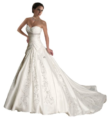 Faironly J5 White Ivory Sweetheart Wedding Dress Bride Gown (L, White)