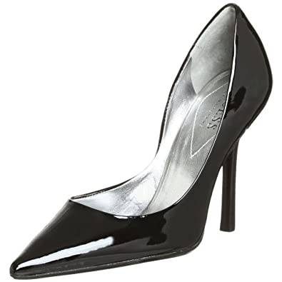 GUESS Women's Carrie Stiletto Pump,Black Patent,5 M