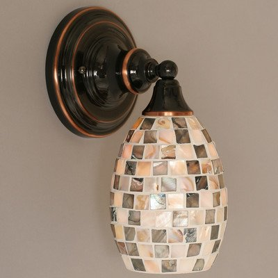 1 Light Wall Sconce With Glass Shade Finish: Dark Granite front-441171
