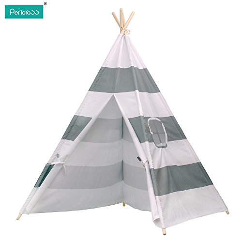 Buy Cheap Pericross Kids Teepee Tent Indian Play Tent Children's Teepee Tent (Grey Stripes)