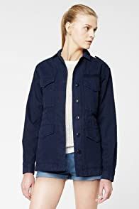 L!VE Long Sleeve Washed Gab Cargo Pocket Jacket