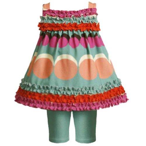 Size-3/6M,BNJ-9361M 2-Piece TEAL-BLUE MULTI BIG DOT RUFFLE TRIM Spring Summer Girl Party Dress/Legging Outfit Set,M09361 Bonnie Jean Baby/Infant 3M-9M
