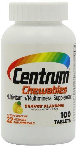 Centrum Chewable Multivitamin, Orange Flavored, 100 Tablets