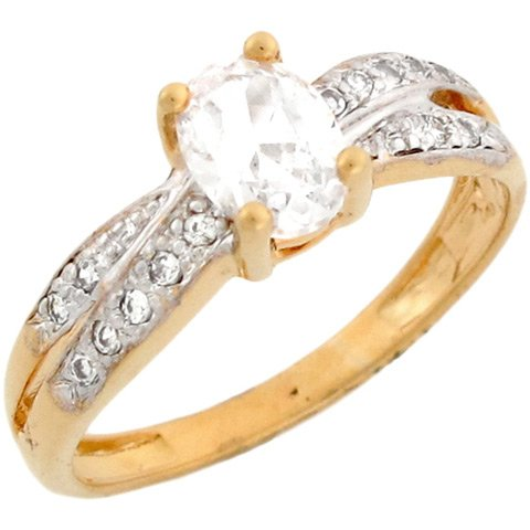 10k Two-Toned Real Gold White Oval 1ct CZ Ladies Engagement Ring