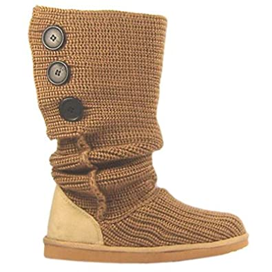 WOMENS NEW MID CALF TAN KNITTED CARDY SNOW BOOTS SIZE 8