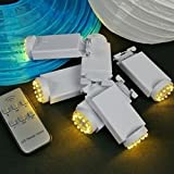 Battery Lantern Lights & Remote, 12 LEDs, Dimmer, Warm White, Set of 6