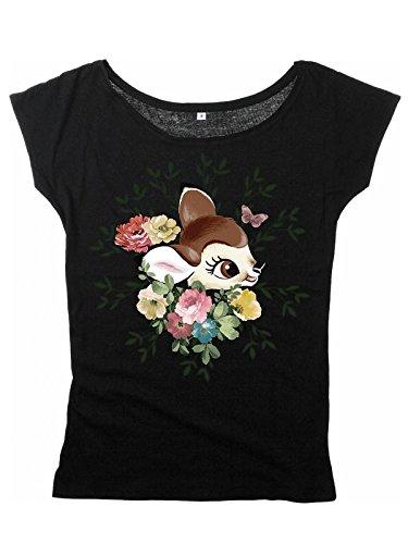 Walt Disney Bambi - Head Flower Maglia donna nero L